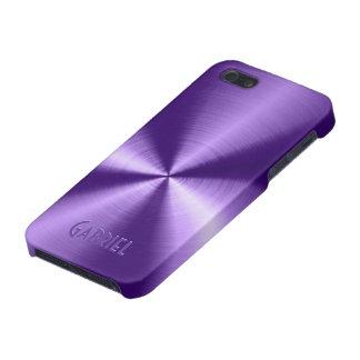 Purple Metallic Design Stainless Steel Look iPhone 5 Covers