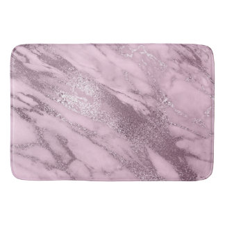 Purple Metallic Lilac Mauve Marble Stone Metallic Bath Mat