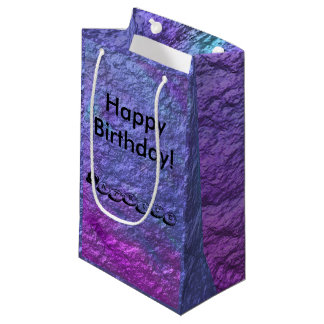Purple Metallic Personalize Text Small Gift Bag