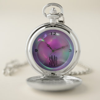 Purple Metallic Sphere Pocket Watch w 3-Initials