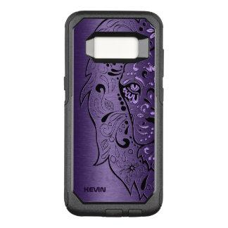 Purple Metallic Texture & Lion Head Sugar Skull OtterBox Commuter Samsung Galaxy S8 Case