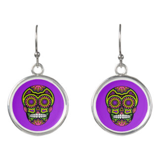 Purple Mexican Sugar Skull Day Of The Dead Earrings