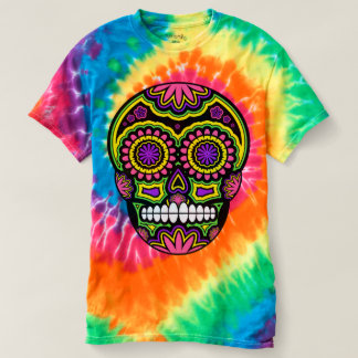 Purple Mexican Sugar Skull Day Of The Dead T-Shirt