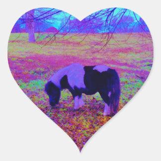 Purple miniature horse heart sticker