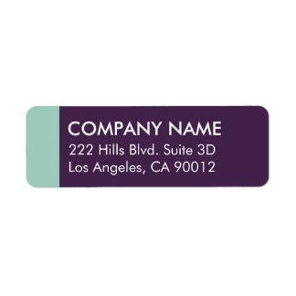 Purple Mint Color Block Modern Return Address Label