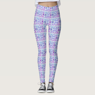 Purple Mirrored Paisley Patterned Leggings