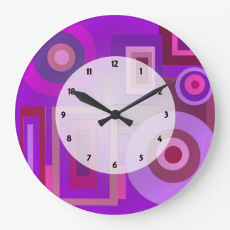 Purple Mod Squares Circles Abstract Clock