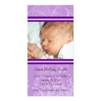 Purple Mod Style New Baby Photo Card