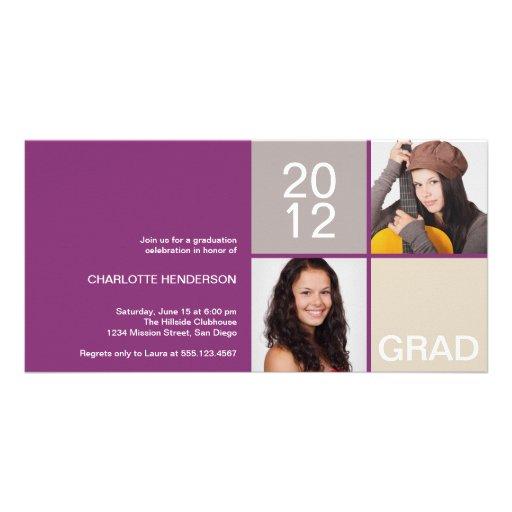 Purple modern block class of grad announcement customized photo card