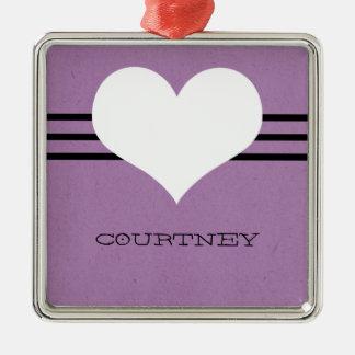 Purple Modern Heart Ornament
