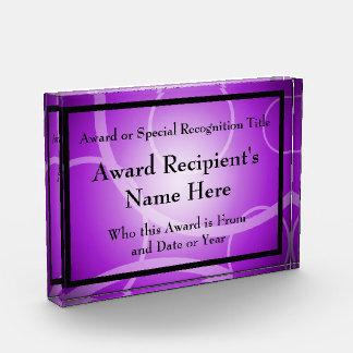 Purple Modern Personalized Acrylic Award Plaque