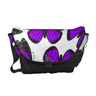 Purple Monarch Butterfly Pattern Courier Bag