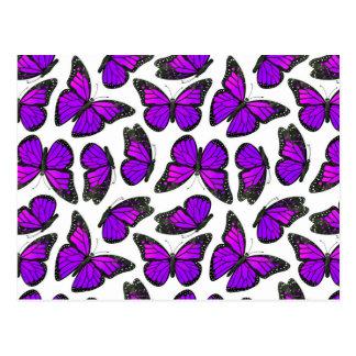 Purple Monarch Butterfly Pattern Postcard