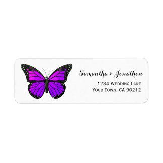 Purple Monarch Butterfly Return Address Label