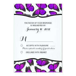 Purple Monarch Butterfly Wedding RSVP 3.5x5 Paper Invitation Card