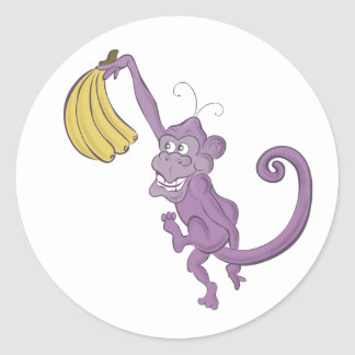 purple monkey classic round sticker