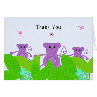 Purple Monkey Thank You Card
