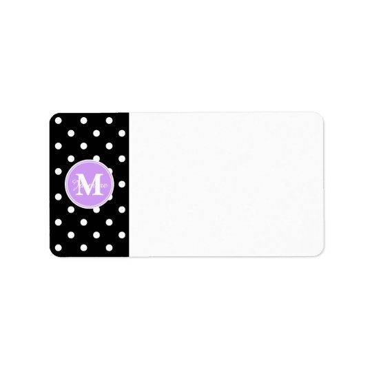 Purple Monogram Black White Polka Dots Label