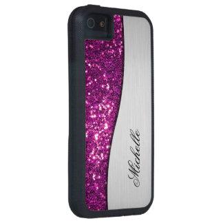 Purple Monogram Bling iPhone 5 Cover