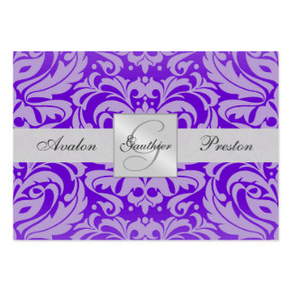 Purple Monogram Damask Wedding RSVP Card Pack Of Chubby Business Cards