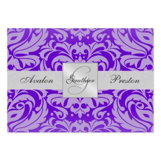 Purple Monogram Damask Wedding RSVP Card Business Card Templates