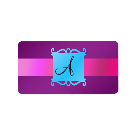 Purple monogram fancy emblem address label