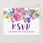 Purple Monogram Floral Wreath Menu Choice RSVP