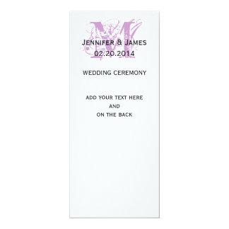 Purple Monogram Names Wedding Programs 10 Cm X 24 Cm Invitation Card