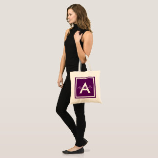 Purple Monogram Personalized Tote Bag