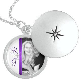 Purple Monogram Silver Wedding Necklace
