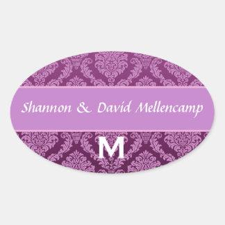 Purple Monogram Wedding Damask V03 Oval Sticker