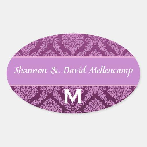 Purple Monogram Wedding Damask V03 Sticker