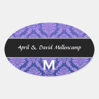 Purple Monogram Wedding Damask V04 Oval Sticker
