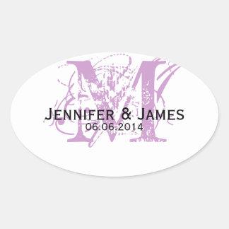 Purple Monogram Wedding Favour Stickers Oval