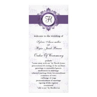 purple monogram Wedding program Personalised Rack Card