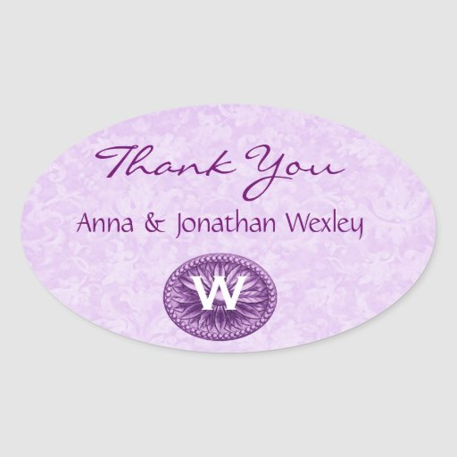 Purple Monogram Wedding Thank You G200 Oval Sticker