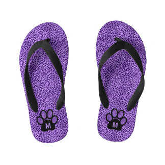 Purple Monogrammed Cheetah Print Paw Kid's Thongs