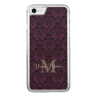 Purple monogrammed damask pattern carved iPhone 7 case