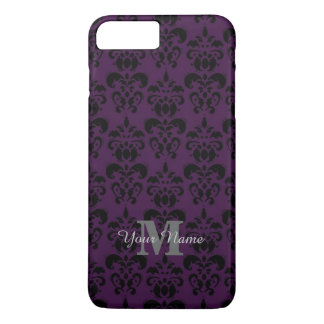 Purple monogrammed damask pattern iPhone 8 plus/7 plus case