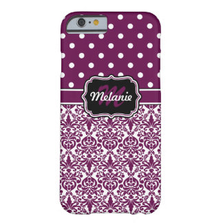 Purple Monogrammed Damask Polka Dots Pattern Barely There iPhone 6 Case