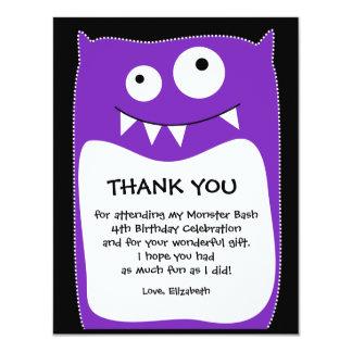 Purple Monster Bash Thank You Card (Flat) 11 Cm X 14 Cm Invitation Card