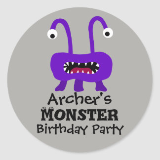 Purple Monster Birthday Party Stickers