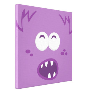 Purple Monster Face Wrapped Canvas Gallery Wrapped Canvas