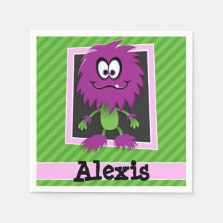 Purple Monster on Green Stripes Disposable Serviettes