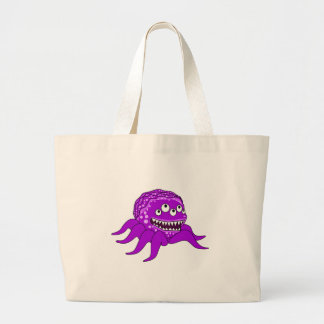 Purple Monster with Four Eyes and Tentacles Canvas Bags