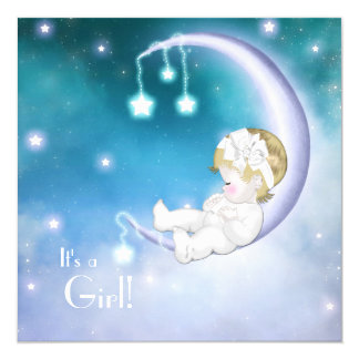 Purple Moon Baby Girl Shower 13 Cm X 13 Cm Square Invitation Card