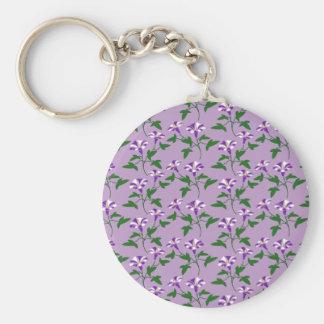 Purple Morning Glories Floral Pattern Basic Round Button Key Ring