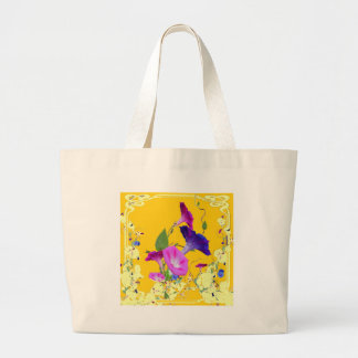 Purple Morning Glory Flowers Gold Art Design Large Tote Bag