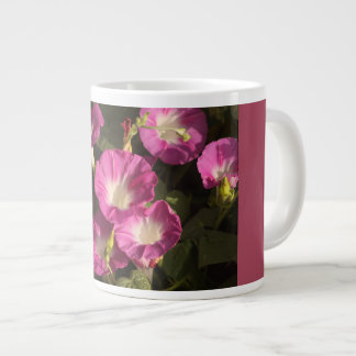 Purple morning glory flowers jumbo beverage mug. giant coffee mug