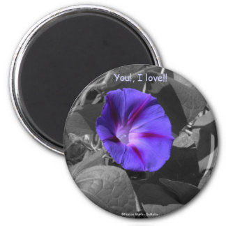 Purple Morning Glory-Magnet 6 Cm Round Magnet